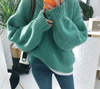 RUGOD Vintage Women Pullovers Solid Plus Size Knitted Warm Winter Clothes O Neck Casual Women Sweaters sueter mujer
