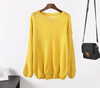 Hirsionsan Elegant Pullover Sweater Women Autumn Winter Knitted Yellow Tops Casual Korean Female Oversized Jumper