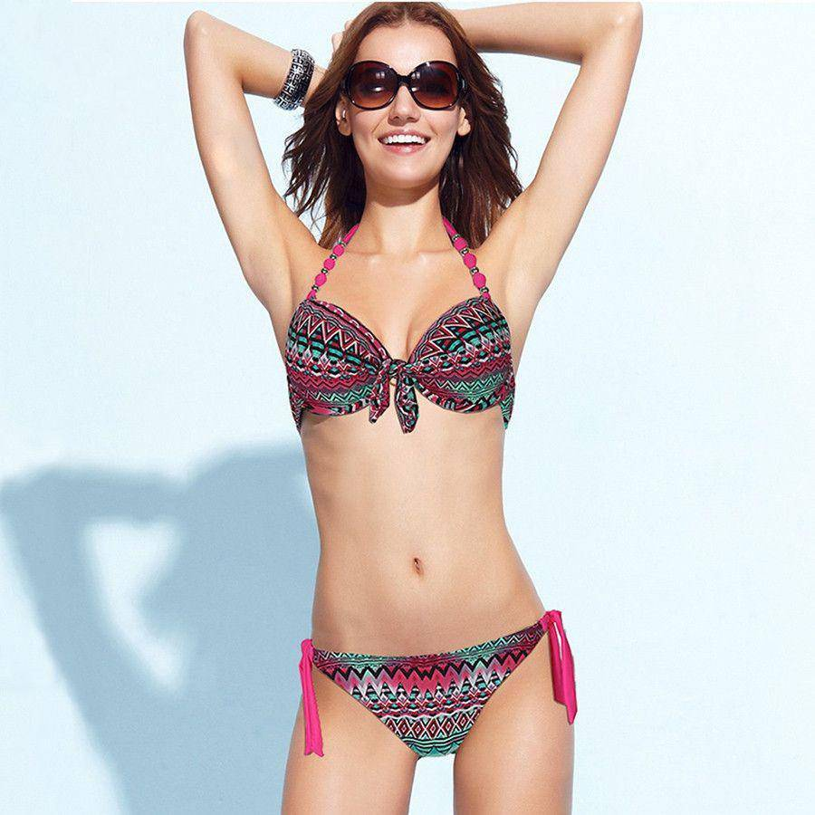 Bikinis Women Print Halter Bikini Floral Swimsuits Women Brazilian Push Up Bikini Set Bathing Suits Plus Size Swimwear XXL