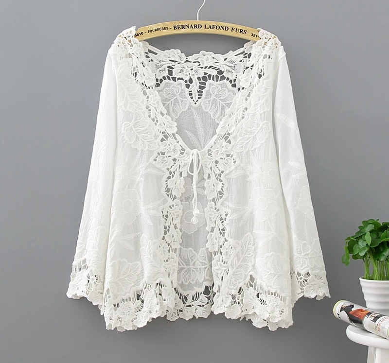 Qiukichonson White Lace Cardigan Women Boho Hollow Out Flower Embroidery Bikini Cover Up Lace Up Sunproof Kimono Cardigan Tops