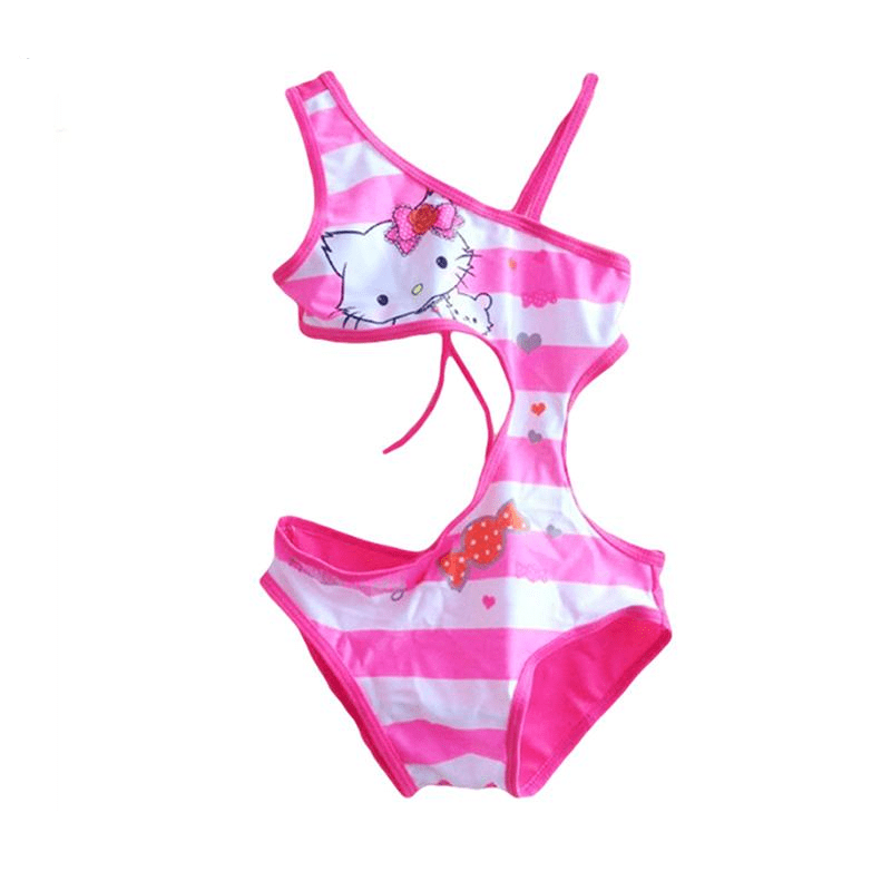 Summer Girls Swimsuit One-Piece Children Girls Hello Kitty Swimwear Rose Beach Wear For Girls-SWIMWEAR-SheSimplyShops