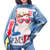 RUGOD Women Vintage Funny Print Jean Jacket Ripped Hole Long Sleeve Jacket Loose Casual Short Denim Jacket Casaco feminino