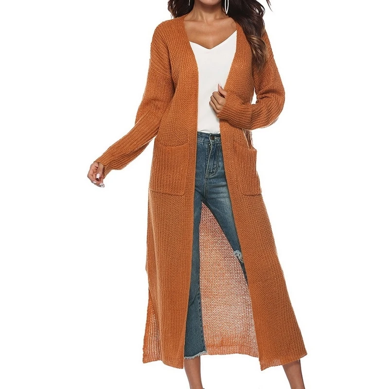 LASPERAL Spring Autumn Women Long Sleeve Knitwear Kimono Warm Sweater Cardigans Solid Color Knitted Outerwear Pockets