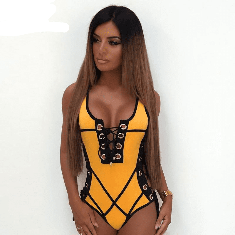 Lace Up Sexy Bodysuit Rompers Women Jumpsuit Summer Body Feminine Jumpsuits Beach Wear-SheSimplyShops
