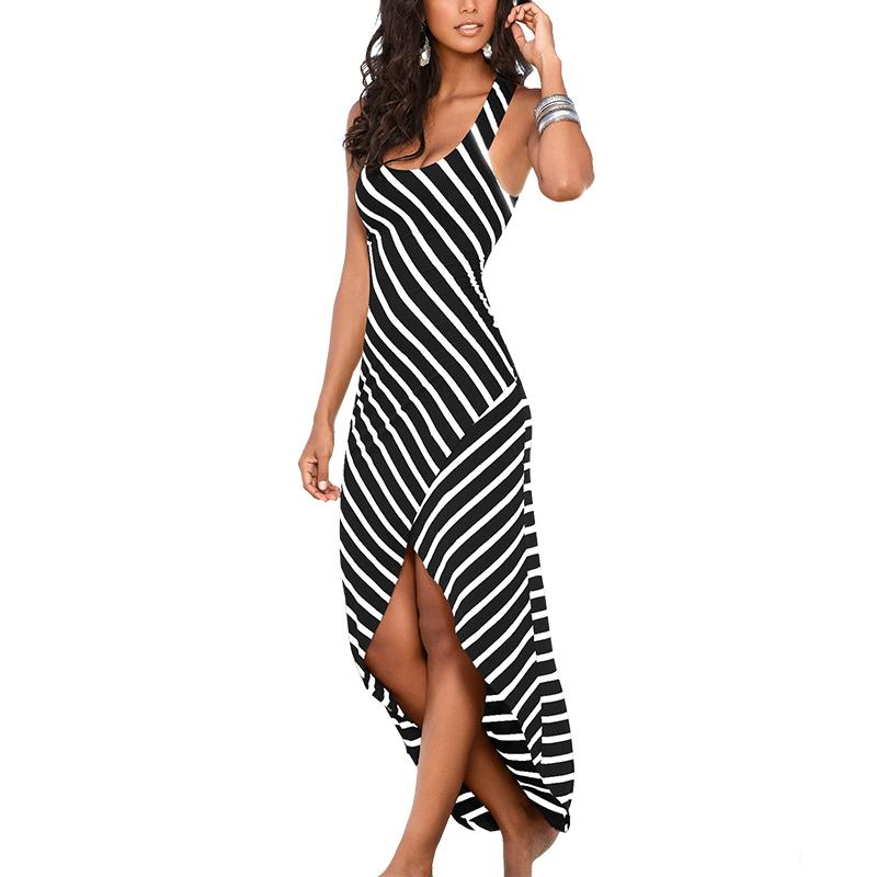 Long Striped Women Summer Dress Spaghetti Strap Tunic Beach Maxi Dress And Sundress Women Summer Dress