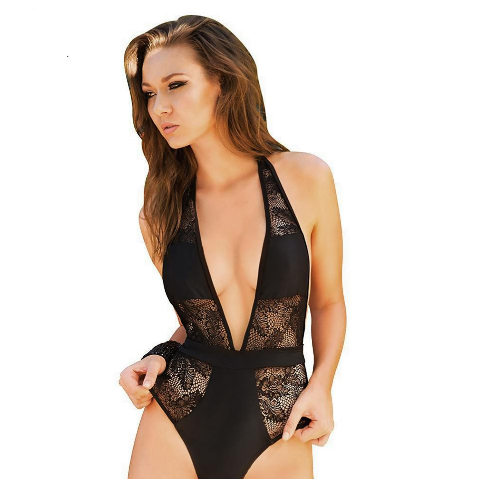Deep V Neck Hollow Out Swimsuit