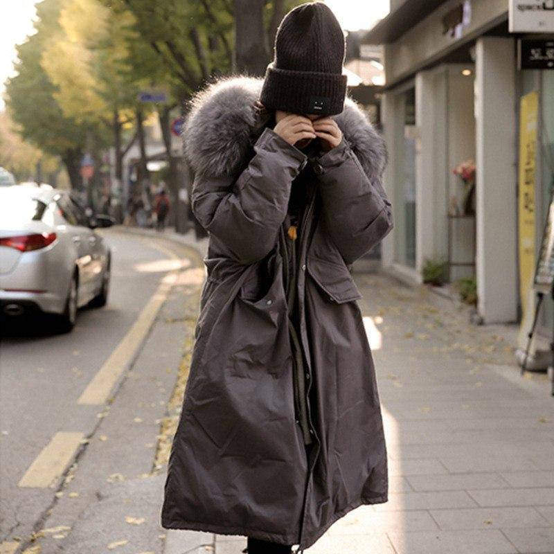 Hirsionsan Winter Coat Women Large Fur Collar Hooded Long Jacket Thicken Warm Korean Padded Parkas Oversized Military Parka