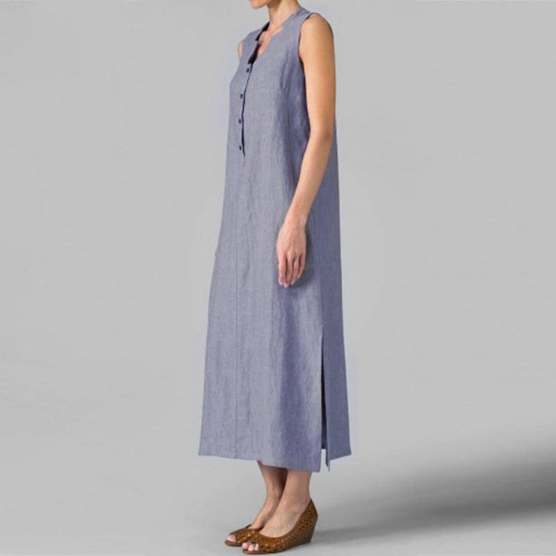 Women Summer Casual Loose Maxi Long Dress V Neck Sleeveless Vintage Dress Split Cotton Ankle-length