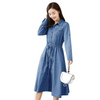 GOPLUS 2019 Spring Fashion Sashes Boho Denim Dress Women Clothing long Sleeve Pockets slim Party Dress Plus Size Casual Vestidos