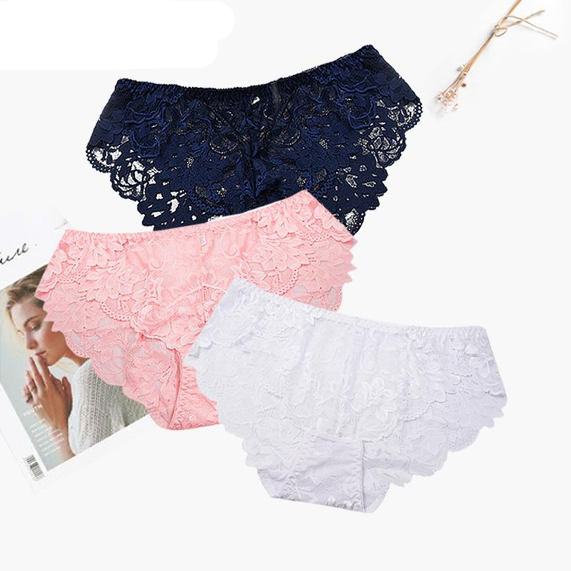 FallSweet Women Full Lace Panties Solid Briefs Female Plus Size Underwear Mid Rise 4XL