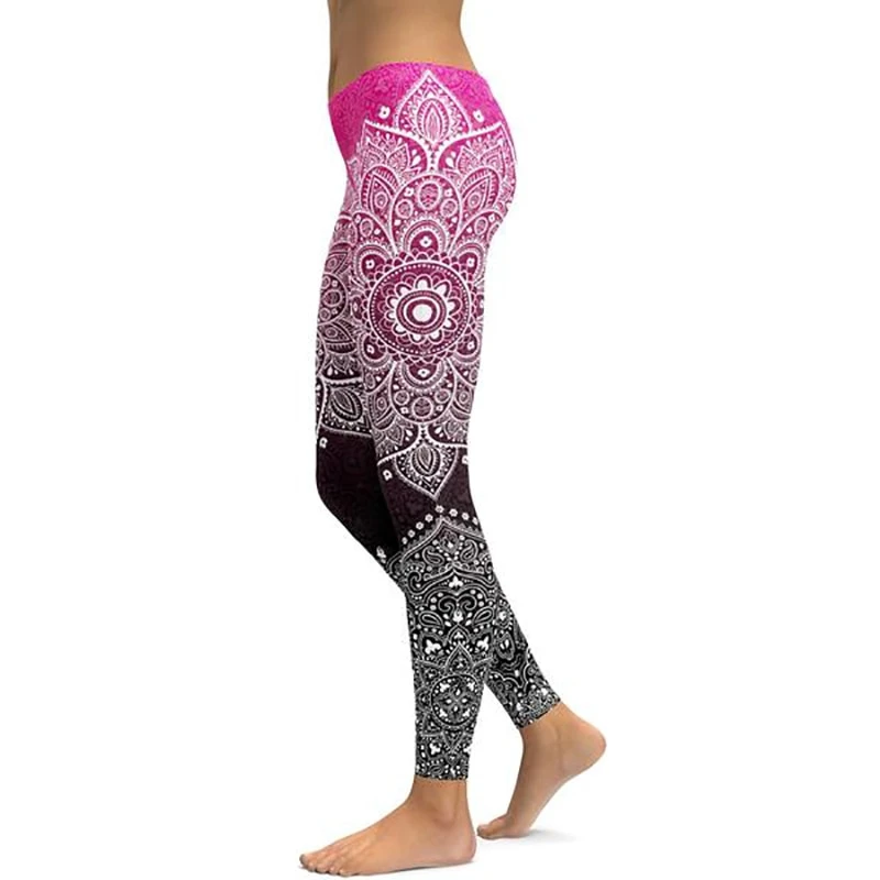 LI FI Pink To Black Mandala Yoga Leggings Yoga Pants Workout Sports Gym Leggings