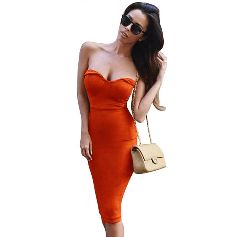 Strapless Summer Dress Sexy Padded Suede Midi Dress Women Bustier Body con Dress Club Party Pencil Dress-SheSimplyShops