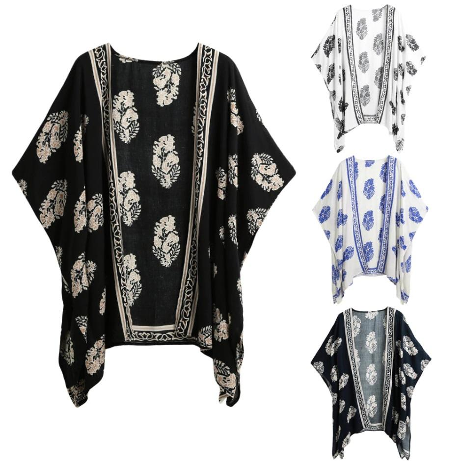 Summer Blusas Women Vintage Casual Loose Batwing Sleeve Blouse Tops Printed Kimono Cardigan Plus Size