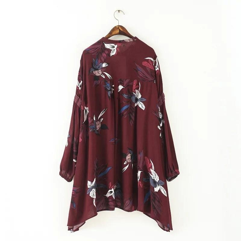 Spring new women cotton&linen print casual long sleeve O-neck red dress-Dress-SheSimplyShops