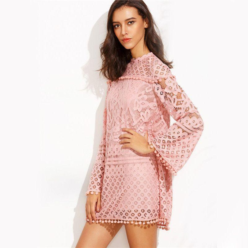 COLROVE Pink Crochet Pom-pom Trim Long Sleeve Round Neck Shift Mini Dress Women Casual Wear Loose Short Dress-Dress-SheSimplyShops