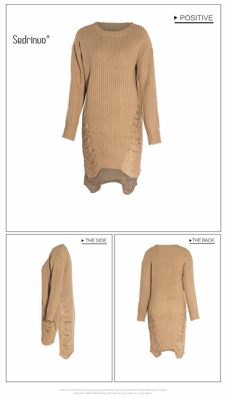 Sedrinuo Casual Knitted Sweater Dresses Women Long Sleeve pullover Round Neck Bodycon Irregular Khaki/Black Loose Sweater Dress-Dress-SheSimplyShops