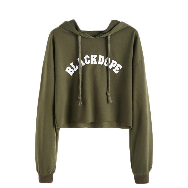 Hoodies Women Clothes Women Hoodies Sweatshirts Clothes Letter Print Raw Hem Crop Sweatshirt-Bottoms-SheSimplyShops