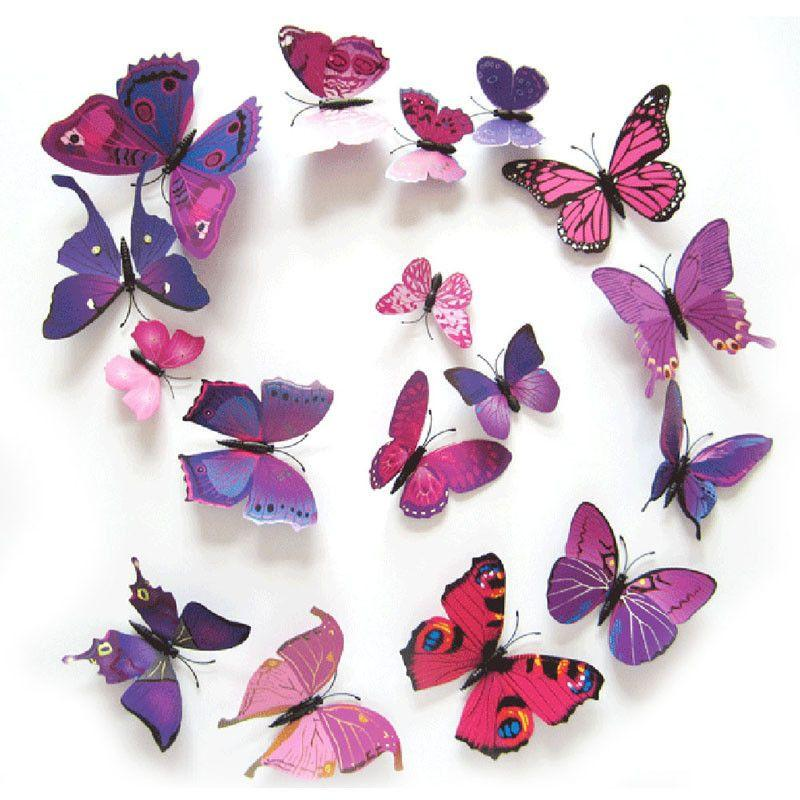 12pcs/lot 3D PVC Wall Stickers Magnet Butterflies DIY Wall Sticker Home Decor Poster Kids Rooms Wall Decoration-SheSimplyShops