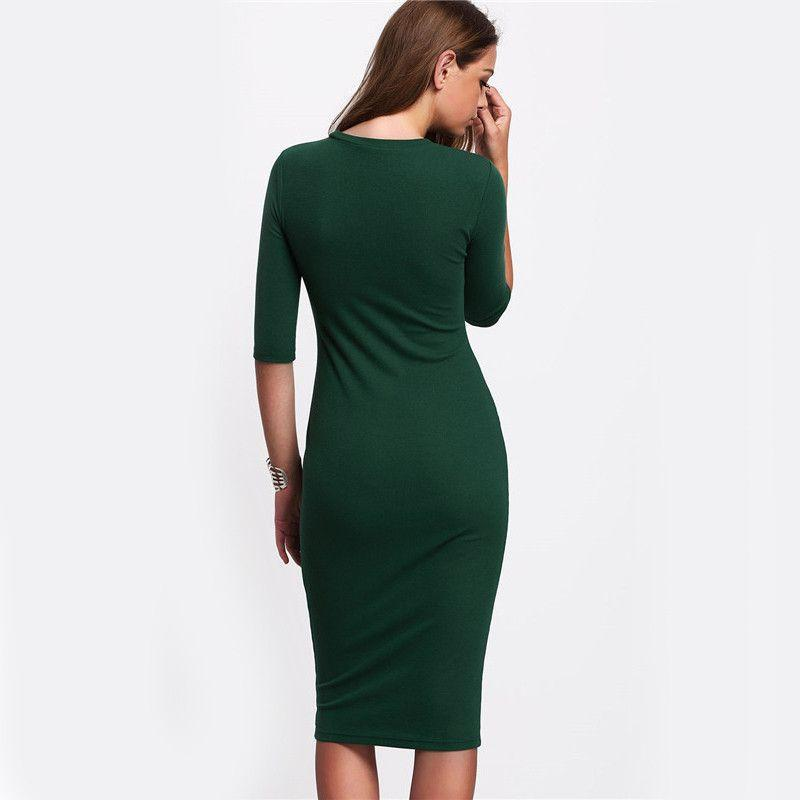 COLROVIE Work Summer Style Women Bodycon Dresses Sexy New Arrival Casual Green Crew Neck Half Sleeve Midi Dress-Dress-SheSimplyShops