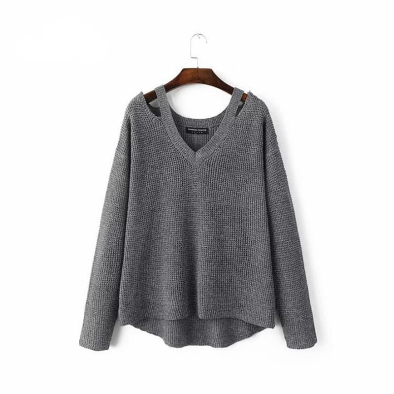 Autumn and winter new women's V-neck off the shoulder knitted pullover sweater gray black beige-SWEATERS + CARDIGANS-SheSimplyShops
