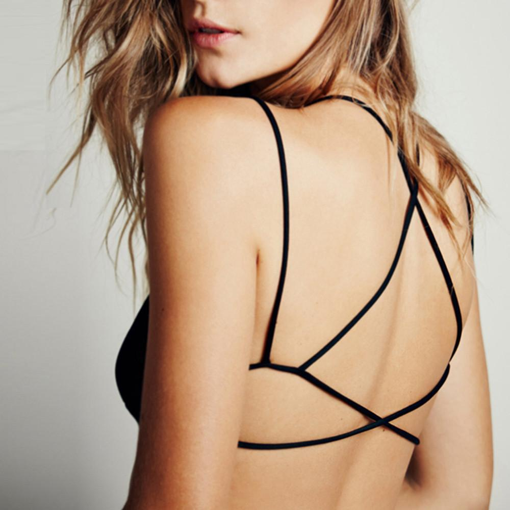 New Fashion Sexy Women Bralette Cut Out Spaghetti Strap Bra Solid Black Cross Back Soft Fitted Bra-BRALETTE-SheSimplyShops