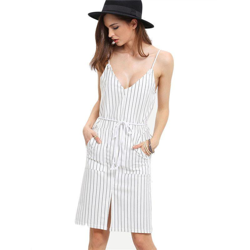 COLROVIE Sexy Summer V Neck With Drawstring Dresses Women White Spaghetti Strap Vertical Striped Split Dress-Dress-SheSimplyShops