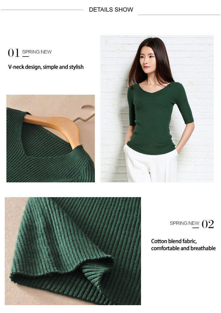 Women Spring Cotton Blend Sweater V-Neck Pullover Female Half Sleeve Jumpers Knitted Outwear-SWEATERS + CARDIGANS-SheSimplyShops