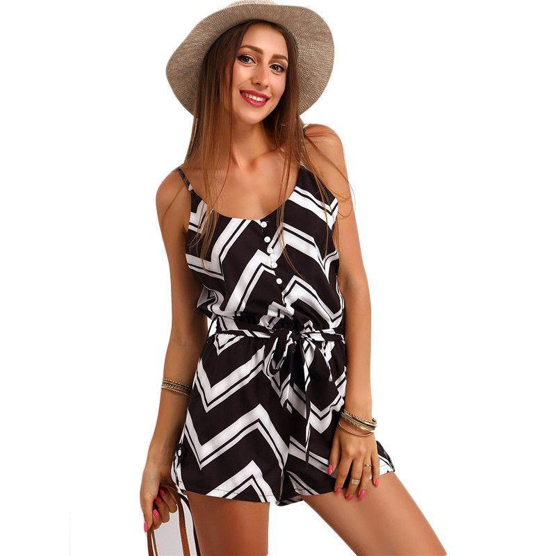 COLROVIE Casual Summer Women Romper Spaghetti Strap Zig Print Jumpsuit New Arrivals Sleeveless Buttons Belt Rompers-ROMPERS & JUMPSUITS-SheSimplyShops