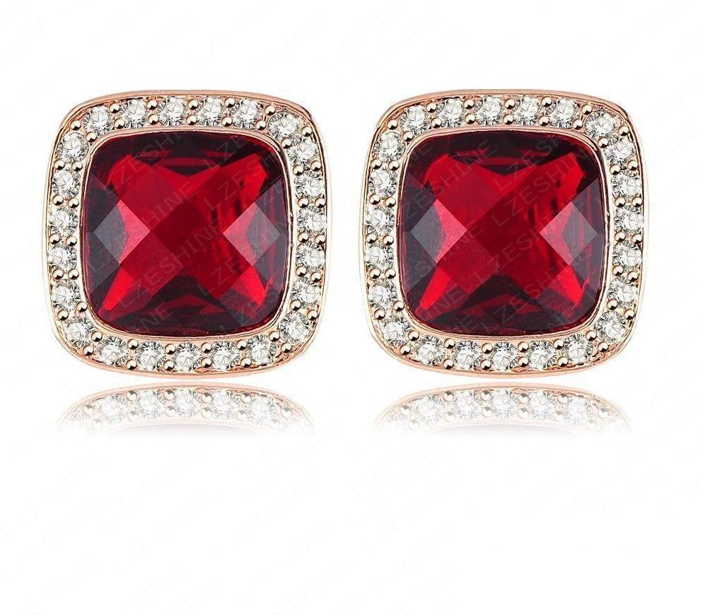 LZESHINE Brand Luxury Square Stud Earring Rose Gold Plate Red Austrian Crystal SWA Elements Retro Women Earrings ER0157-A-EARRINGS-SheSimplyShops