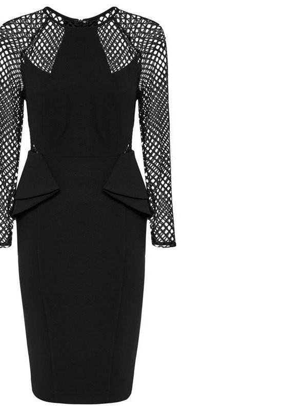 Long Sleeve Mesh Hollow Out Sexy Bodycon Black Evening Party Dress Plus Size Women Clothing Chic Dresses-Dress-SheSimplyShops