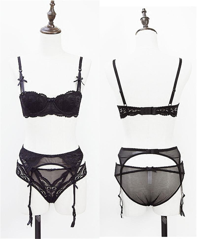 half a cup sexy lace bra sets for women bra+panties+Garters 3 piece/lots-PANTS-SheSimplyShops
