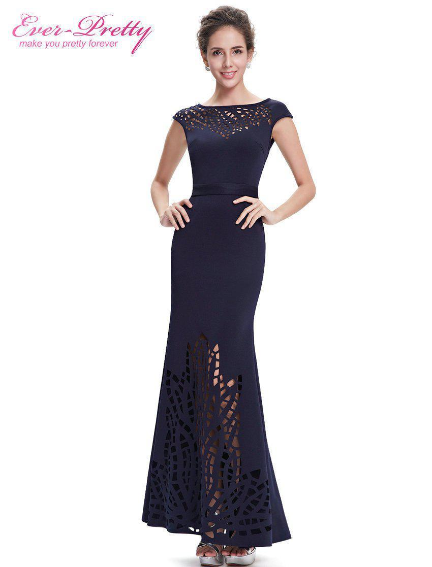 Long Navy Blue Evening Dress Mermaid Ever Pretty High Quality EP08545 Women Elegant Round Neck Cheap Evening Dresses-Dress-SheSimplyShops
