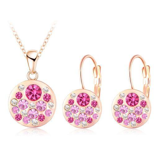 Austrian Crystal Jewelry Set for Women Rose Gold Plated Round Style Pendant/Earrings Sets-EARRINGS-SheSimplyShops