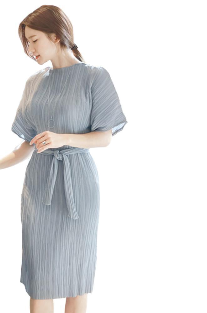 JAZZEVAR summer fashion Edgy casual dress women's pleated Midi dresses avantgarde Pleat Batwing short sleeves brief One Piece-Dress-SheSimplyShops