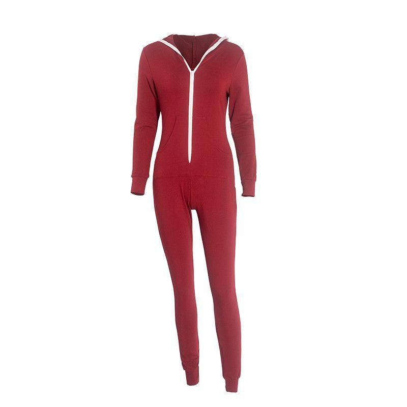 Casual Women One Piece Outfits Jumpsuits Long Sleeve Bodycon Front Zipper Hooded Long Pants Sexy Black/Red Rompers Playsuit-ROMPERS & JUMPSUITS-SheSimplyShops