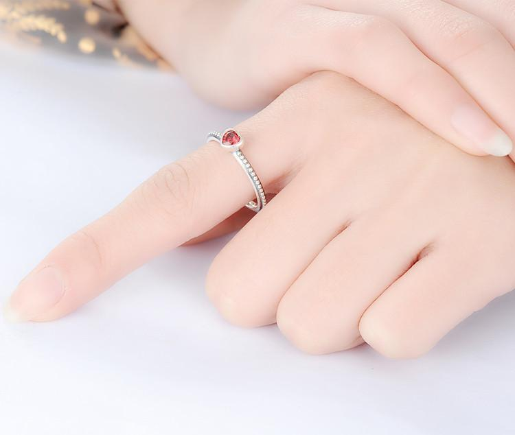 Sterling Silver Ring Love Heart Romantic Finger Ring for Women Wedding Jewelry SRI0024-JEWELRY-SheSimplyShops