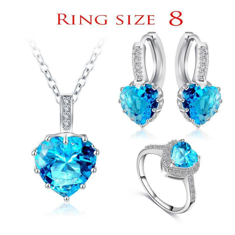 LZESHINE New Fine Women Romantic Heart Shape AAA Zircon Wedding Jewelry Earring/Necklace/Ring Bridal Jewelry Set-EARRINGS-SheSimplyShops