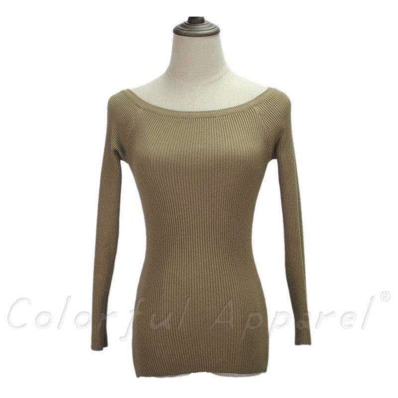 Colorful Apparel Autumn and Winter basic Women Sweater slit neckline Strapless Sweater thickening sweater-SWEATERS + CARDIGANS-SheSimplyShops