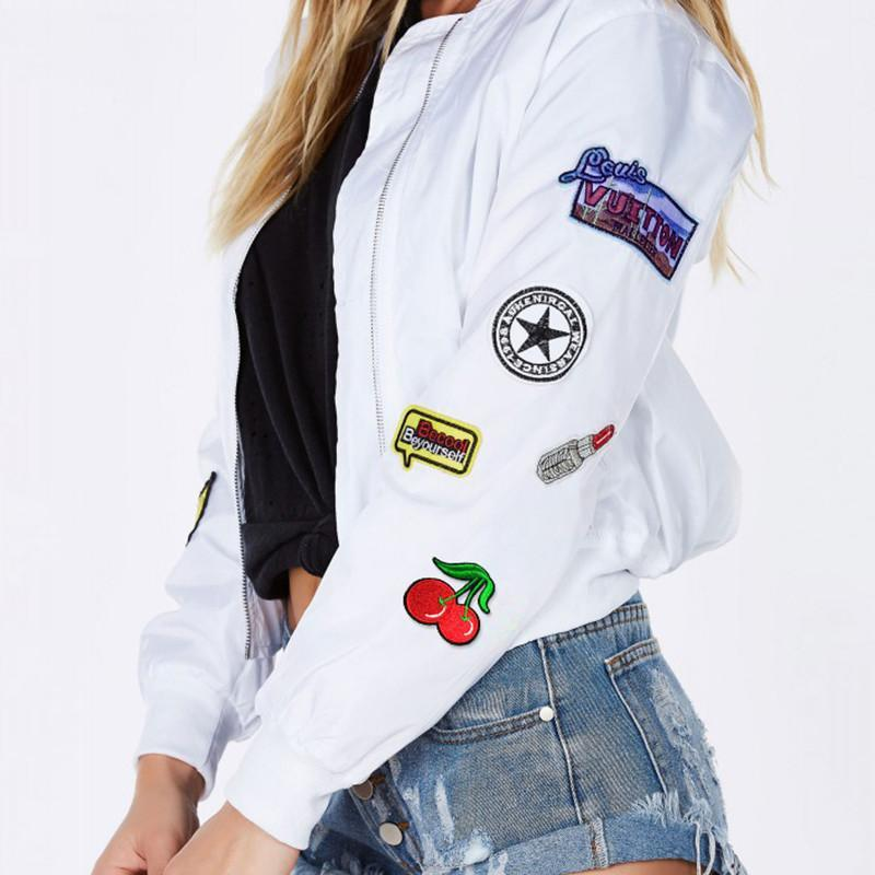 HDY Haoduoyi Autumn Fashion Women White Print Patched Bomber Jacket Zipper Fly Long Sleeve Short Coat-Coats & Jackets-SheSimplyShops