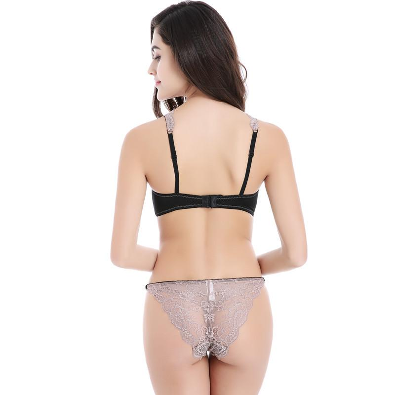 New Ultra-thin models sexy lace lady Bra Sets Lingerie underwear for women A B C D Cup-PANTS-SheSimplyShops