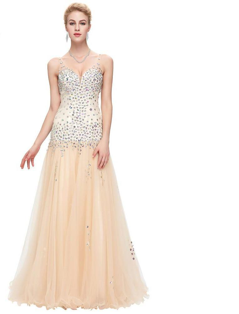 Grace Karin Mermaid Tulle Evening Dress Long New Arrival Formal Party Gown Sequin Beaded Sleeveless V Neck Evening Dresses-Dress-SheSimplyShops