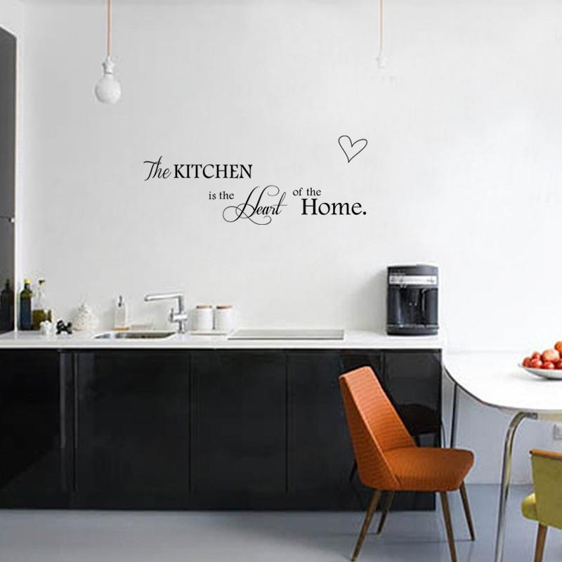 New Kitchen is Heart of the Home Letter Pattern Wall Sticker PVC Removable Home Decor DIY wall art MURAL-SheSimplyShops