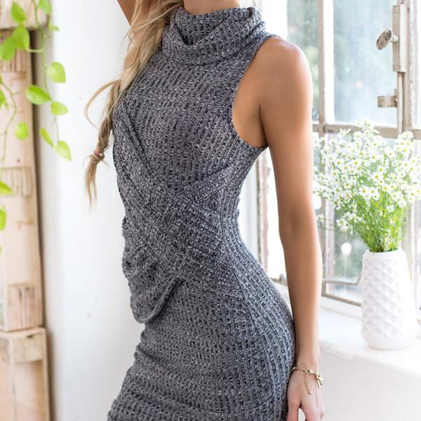 Women Dress Winter Bodycon Dress Plus Size Causal Women Clothing Sexy Worsted Sweater Dresses-Dress-SheSimplyShops