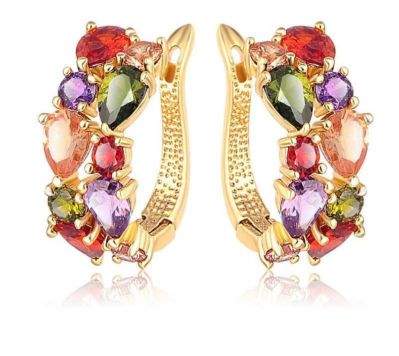 Top New Flower Earrings Rose Gold Plate Multicolor Cubic Zircon Stud Earrings for Women-EARRINGS-SheSimplyShops