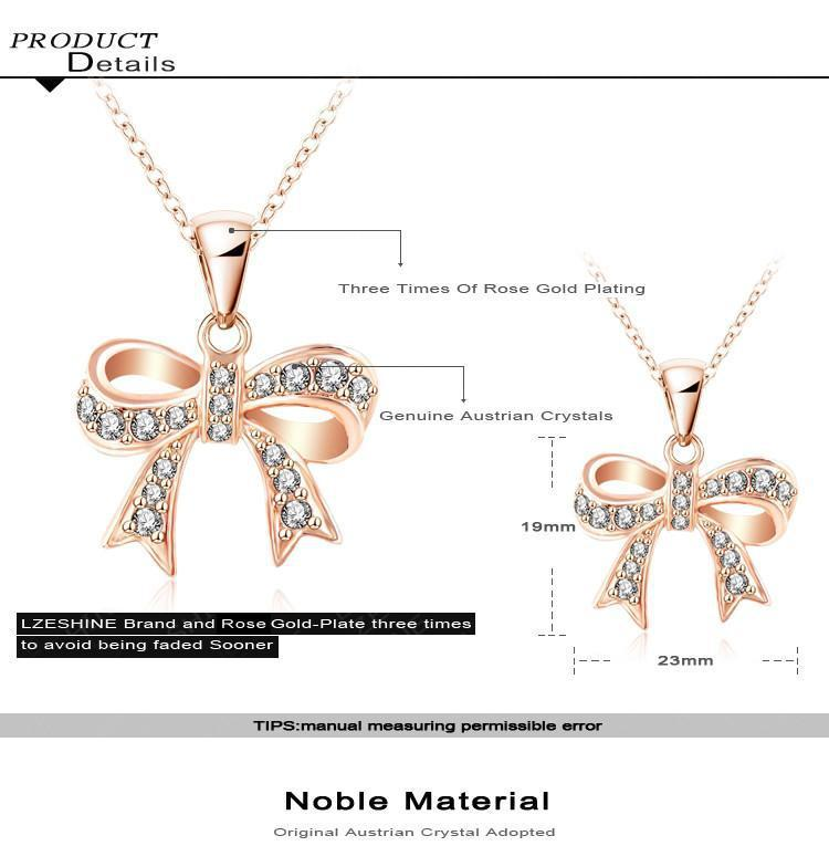 LZESHINE Bow Necklace Genuine SWA Elements Jewelry Real Rose Gold Plated Austrian Crystal Necklaces Pendants NL0288-A-NECKLACES-SheSimplyShops