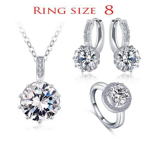 LZESHINE Luxury Classical Women Jewelry Set Designer Round Necklace/Earring/Ring Set Parure Bijoux Femme-EARRINGS-SheSimplyShops