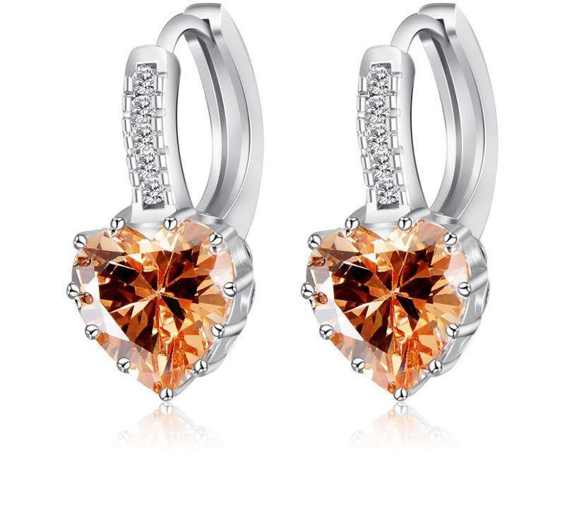 Wedding Earrings Stud Silver Plated Heart Shape Created Diamond Zircon Women Earrings-EARRINGS-SheSimplyShops