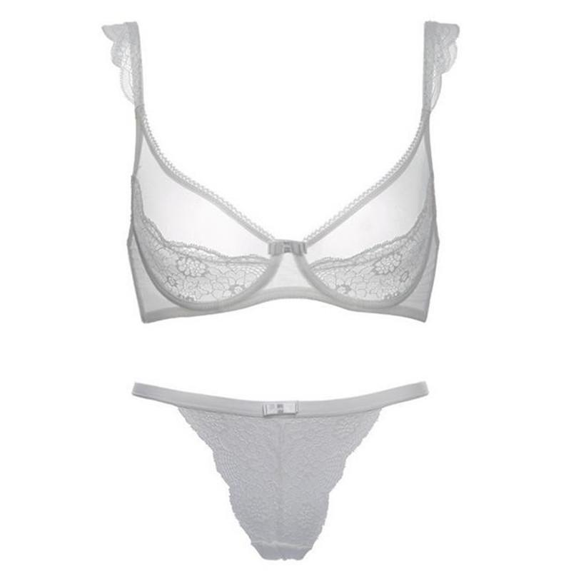 Sexy lace bra breathable thin cup transparent bra sets for women-SheSimplyShops