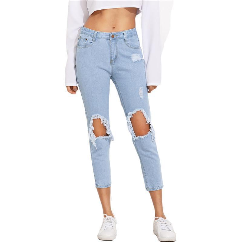 SheIn Summer Trousers For Women Casual Mid Waist Button Fly Pants Blue Knee Ripped Skinny Denim Ankle Length Jeans-JEANS-SheSimplyShops