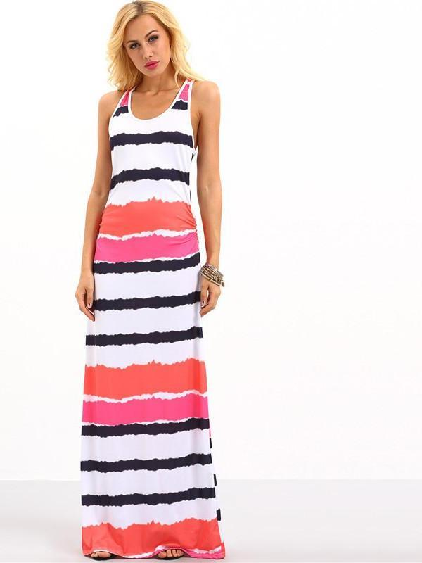 SheIn Womens Summer Maxi Dresses Casual Ladies Multicolor Round Neck Sleeveless Tie Dye Striped Maxi Tank Dress-Dress-SheSimplyShops
